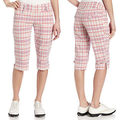 Adidas Performance Golf ClimaLite Stretch Plaid Pedal Pusher - US Women 8 - NWT