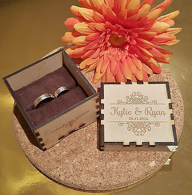 Personalised Rustic Wedding Ring bearer wooden box birthday gift Engagement