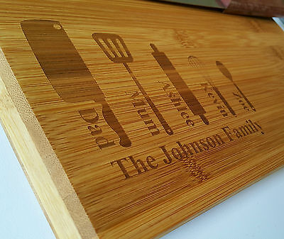 Family chopping cutting wooden bamboo cheese board,house-warming Personalised