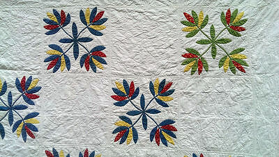 Flawless! Antique 1860 Pennsylvania Floral Applique Whitework Quilt Red Blue