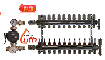 underfloor heating manifold 12 port with Grundfos A rated pump/mixer