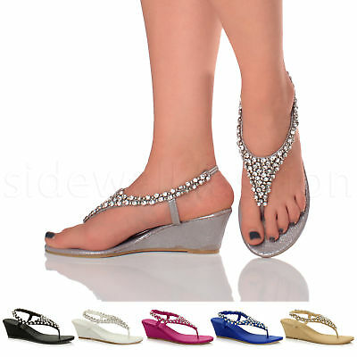 c7633f1cc43 Womens ladies diamante jewelled wedding evening toe post mid wedge sandals  size