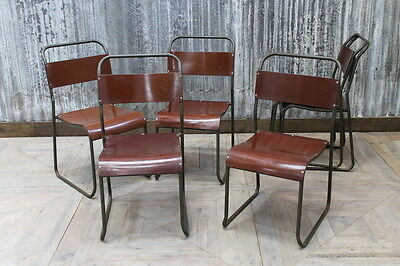 Bakelite Stacking Vintage School Chair Burgundy Red Large Quantity Available