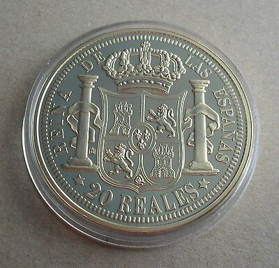 World Famous Coins Spain Isabel 20 Reals Gold 1863