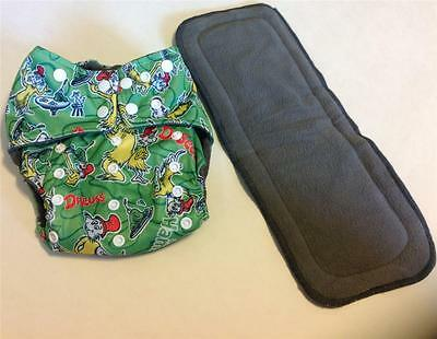 Green Eggs and Ham Charcoal Bamboo Pocket Cloth Diaper Nappy**Insert Included