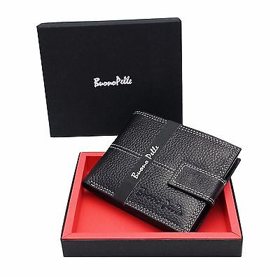 RFID SAFE MENS GENUINE SOFT LEATHER WALLET With  Zip Coin Pocket / Pouch Design