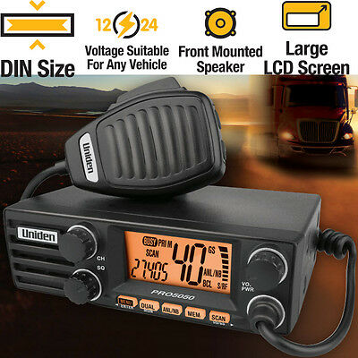 Uniden 12/24V 40CH 27MHz AM CB DIN RADIO - Large LCD Display with 2 Colour LCD