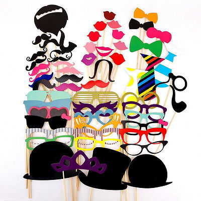 58 Pcs Photo Booth Party Wedding Props On Stick Masks Mustache Glasses Lips NEW