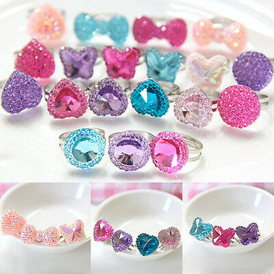 5pcs Crystal Butterfly Heart Bright Drill Adjustable Children Jwewlry Ring Cute