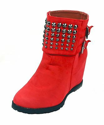 WHOLESALE Lot 12 prs Wedge Ankle Boots studs buckles slip on RED US ship