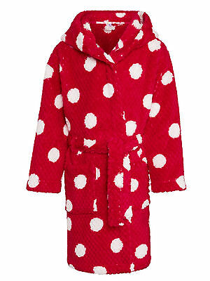 John Lewis Girls' Spot Print Waffle Hooded Robe, Red 12 years