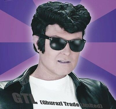 Black Greaser Wig Mens Quiff Elvis 1950's  Danny Teddy Boy T - Birds Fancy Dress