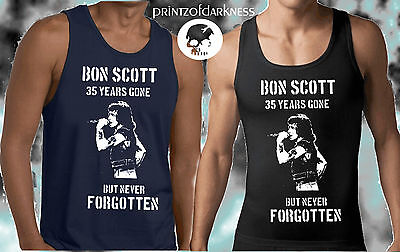 Acdc Bon Scott Anniversary Singlet 35 Years Gone Mens Black Or Navy Singlet