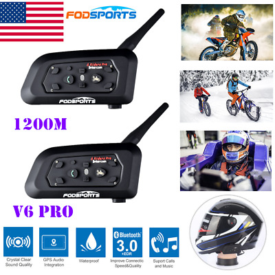 1200m Motorcycle Helmet Bluetooth BT Intercoms Interphone+Soft cable headsets x2