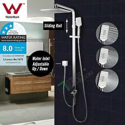 Chrome 2 In 1 8'' Square Double Shower Head Set Handheld Sliding Rail MIXER TAP