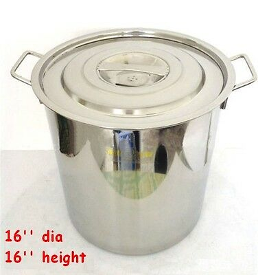16inch Polished 304 Stainless Steel Stock Pot Brewing Kettle Large With Lid