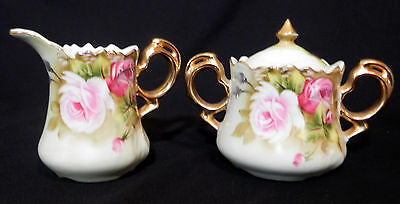 VTG Lefton Heritage Rose Hand Painted Green Gold Creamer and Sugar Bowl 3066  S4