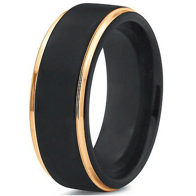 Tungsten Carbide 8mm Mens Yellow Gold Plated Edge Wedding Band Wedding Ring M9