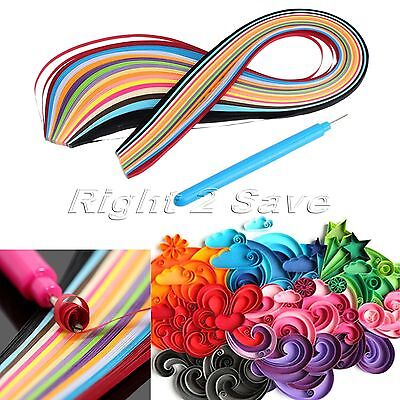 160 Stripes 3mm Width Mixed Color Quilling Paper Origami with Pen DIY Craft Tool