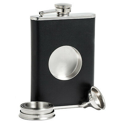 NEW 8oz Pocket Whiskey Hip Flask Stainless Steel Collapsible Shot Cups Funnel