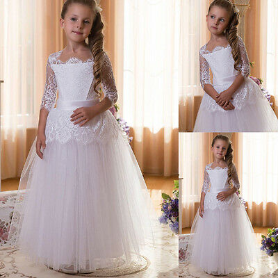 White Flower Girl Dresses Communion Pageant Dress Graduation Bridesmaid Dress