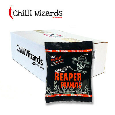 Carolina Reaper Chilli Peanuts - Hot as Hell Peanuts Wholesale Case 24 x 80g