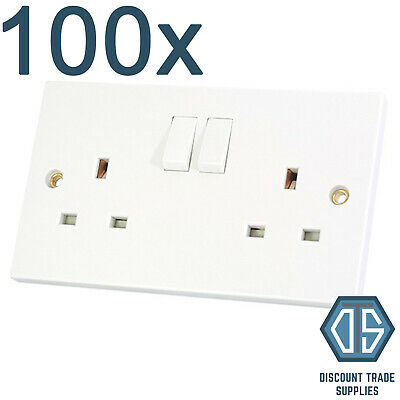 100x 2 Gang Double Sockets 13amp White Double Twin Switched Double Wall Sockets