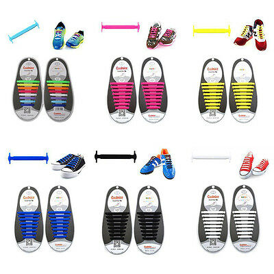 12× Easy No Tie Elastic Shoe Lace Silicone Trainers Shoes Adult Kids Shoelaces