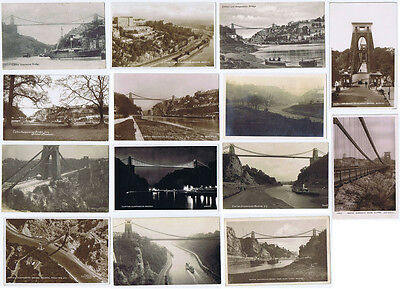BRISTOL Clifton Suspension Bridge, Job Lot of 14x Old Postcards, Many RPs