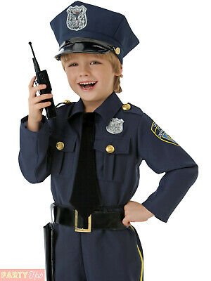 Boys Police Officer Costume Childrens Cop Fancy Dress Kids Uniform Book Week Day