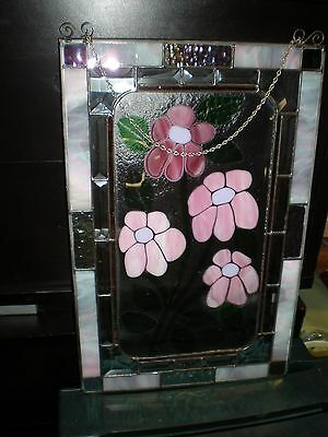 18 X 12   Stained glass Beveled window panel GORGEOUS COLORS NEVER USED NEW