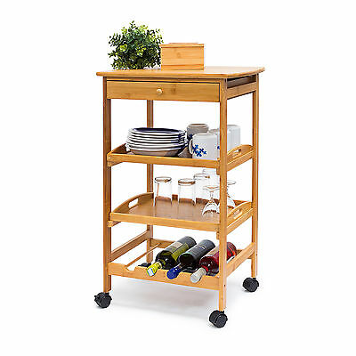 JAMES Large Kitchen Cart Serving Cart Rolling Trolley Wine Storage Bamboo Wooden