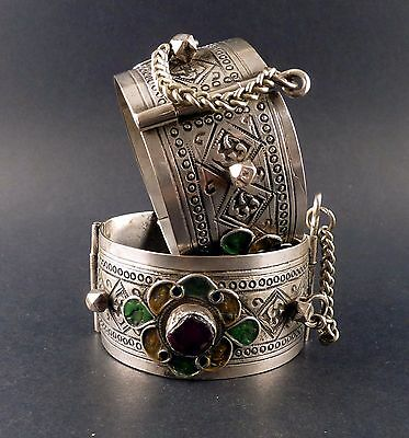 Pair Of Old Silver Berber Bracelets From Morocco, Ethnic Jewellery
