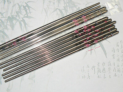 Stainless Steel Metal Chopsticks with Butterfly Flower Pattern - PINK - UK post