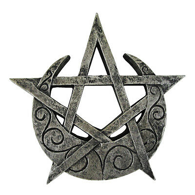Small Crescent Moon Pentacle Plaque - Dryad Designs - Pagan Wiccan Pentagram