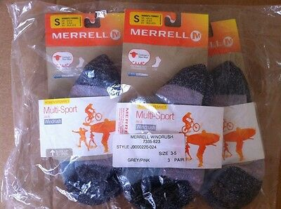 3 X Merrell Womens Multi Sport Socks Aka Windrush