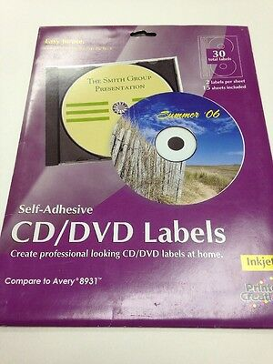 Avery Matte White CD DVD Labels Set of 2 15 Sheets 30 Disc Lables Per Pack