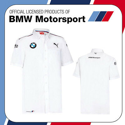 New! 2016 Puma BMW Motorsport Mens Team Shirt Short Sleeve White 100% Cotton