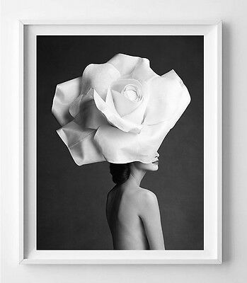 poster gloss patrick demarchelier white rose decortion feminine et design