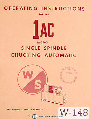 Warner & Swasey 1AC Automatic, M-3900 Operations Manual 1963