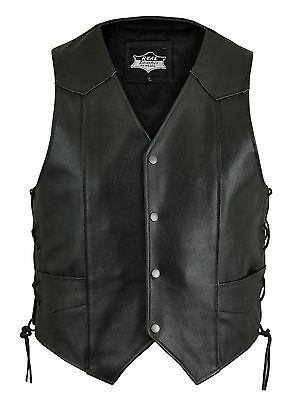 Mens Handmade Leather Motorcycle/Biker Waistcoat/Vest- Sides Laced Up