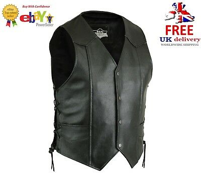 New Mens Real Leather Motorcycle/Biker Side Laced Up Waistcoat/Vest