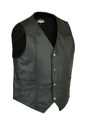 New Mens Handmade Real Leather Biker Style Waistcoat/Vest