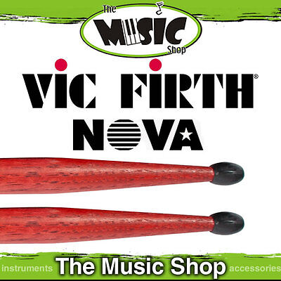 3 Pairs of Vic Firth Nova 5A Drumsticks with Black Nylon Tip - Red Drum Sticks