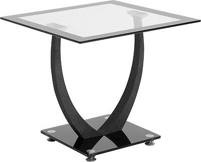 Lamp Table Glass Black & Clear Side End Occasional or Reception Table Henley