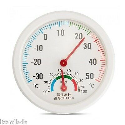 Hygrometer Humidity Gauge and Celsius C Dial Thermometer Mini Small Round White