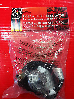 Grill Mate 009001 HOSE WITH POL REGULATOR FOR PROPANE GAS BARBECUES TUYAU 4'