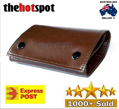 Brown Faux Leather Cigarette Tobacco Pouch Bag Case Paper Mens Birthday Gift