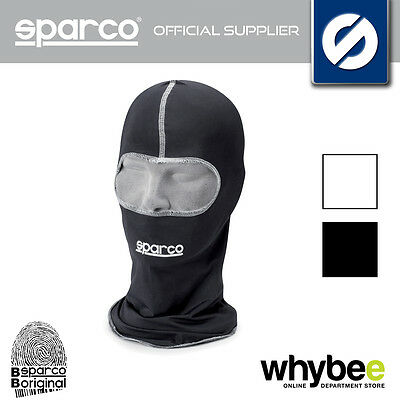 SPARCO BASIC KARTING KART BALACLAVA OPEN FACE ADULT ONE SIZE BLACK or WHITE