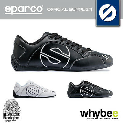 NEW! SPARCO RACING 'ESSE' LEATHER SPORTS SHOES - BLACK or WHITE - SIZES 36-46